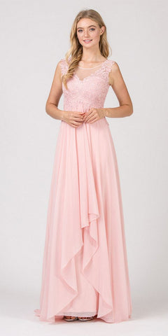 Blush Empire Waist Long Formal Dress Sleeveless