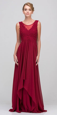 Burgundy Empire Waist Long Formal Dress Sleeveless