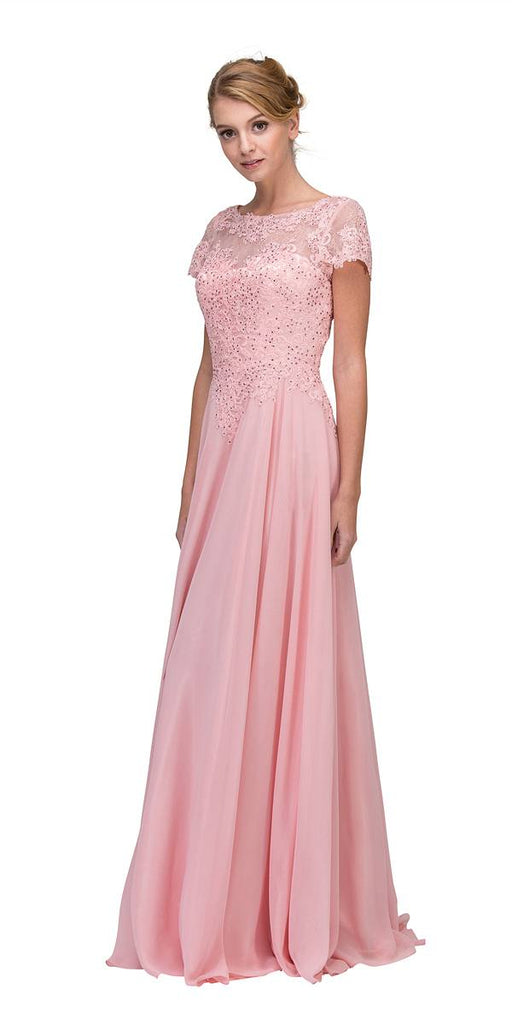 Eureka Fashion 4909 Dusty Pink Short Sleeves Applique Bodice A-Line Long Formal Dress