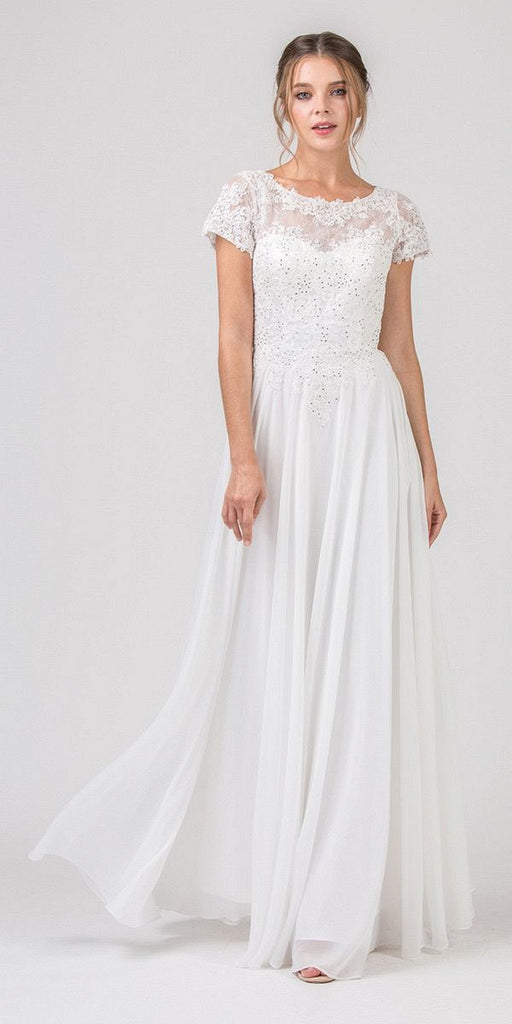 Eureka Fashion 4909 Off White Short Sleeves Applique Bodice A-Line Long Formal Dress