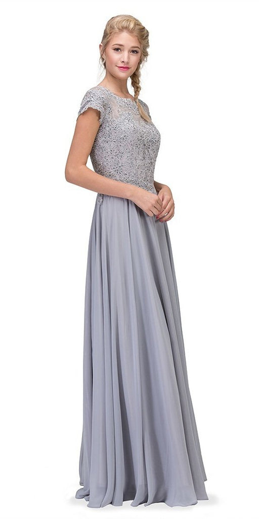 Eureka Fashion 4909 Silver Short Sleeves Applique Bodice A-Line Long Formal Dress
