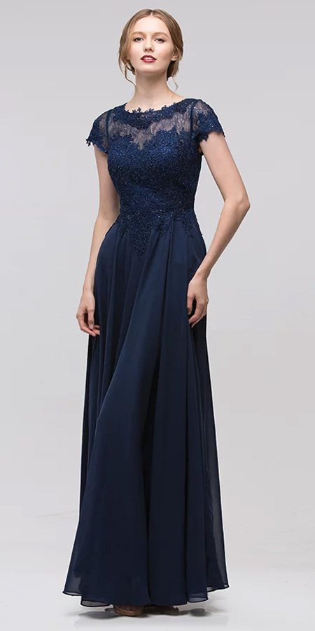 Navy Short Sleeves Applique Bodice A-Line Long Formal Dress