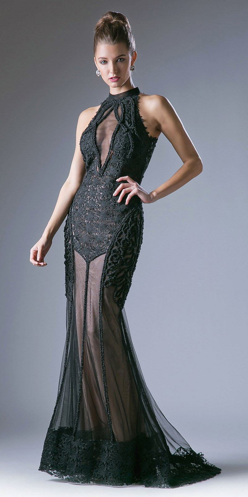 Cinderella Divine 496 Black Mermaid Prom Gown with Sheer Cut-Out ...