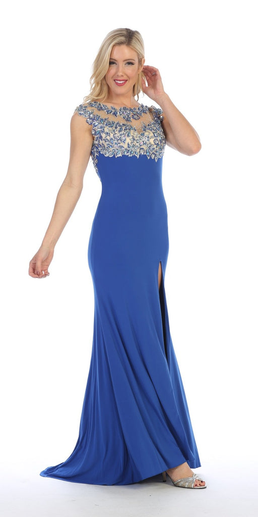 Celavie 5003 Sexy Floor Length Formal Gown Royal Blue Front Slit Open Back