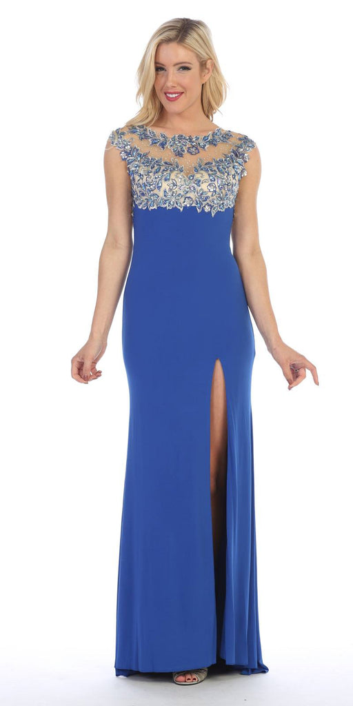 Celavie 5003 Sexy Floor Length Formal Gown Royal Blue Front Slit Open Back Back View