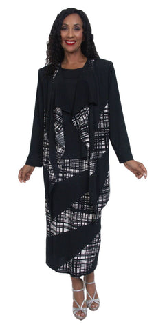 Hosanna 5005 Plus Size 3 Piece Set Black Patterned Tea Length Dress