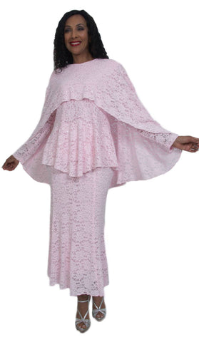 Hosanna 5009 Plus Size 3 Piece Set Pink Tea Length Dress Lace