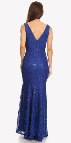Lace Mermaid Evening Gown V-Neck with Mesh Panel Royal Blue