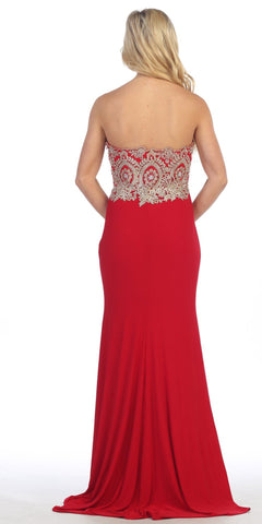 Sexy Strapless Red Formal Gown Front Slit Strapless Sweetheart