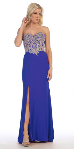 Sexy Strapless Royal Blue Formal Gown Front Slit Strapless Sweetheart