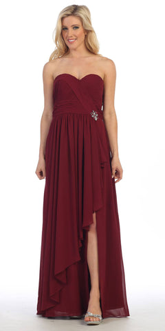 Long Strapless Chiffon Ruched Burgundy Strapless Gown Corset Back