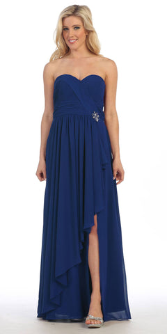 Long Strapless Chiffon Ruched Royal Blue Strapless Gown Corset Back