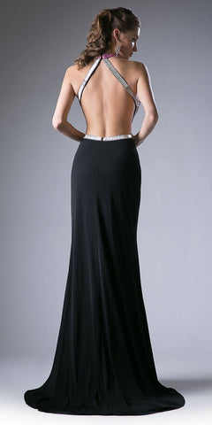 Black-Purple Halter Beaded Cut Out Bodice Long Prom Dress Open Back