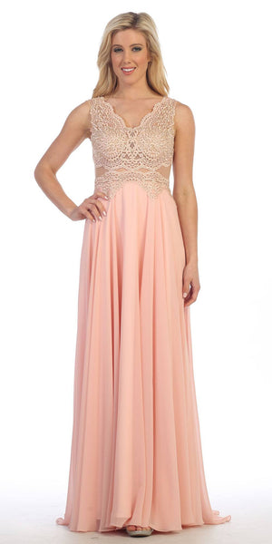 Embroidered Lace Bodice Floor Length Chiffon Gown V Neck Blush - DiscountDressShop