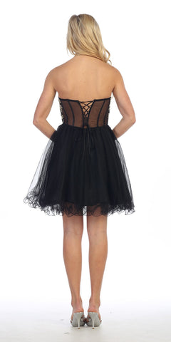 Celavie 5013 Applique Sheer Bodice Strapless Homecoming Dress Black
