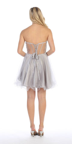 Celavie 5013 Applique Sheer Bodice Strapless Homecoming Dress Silver Back View