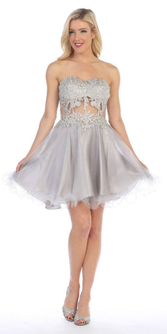 Celavie 5013 Applique Sheer Bodice Strapless Homecoming Dress Silver