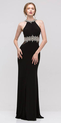 Black Halter Fit and Flare Evening Gown Beaded Neckline and Waist