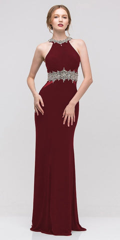 Burgundy Halter Fit and Flare Evening Gown Beaded Neckline and Waist