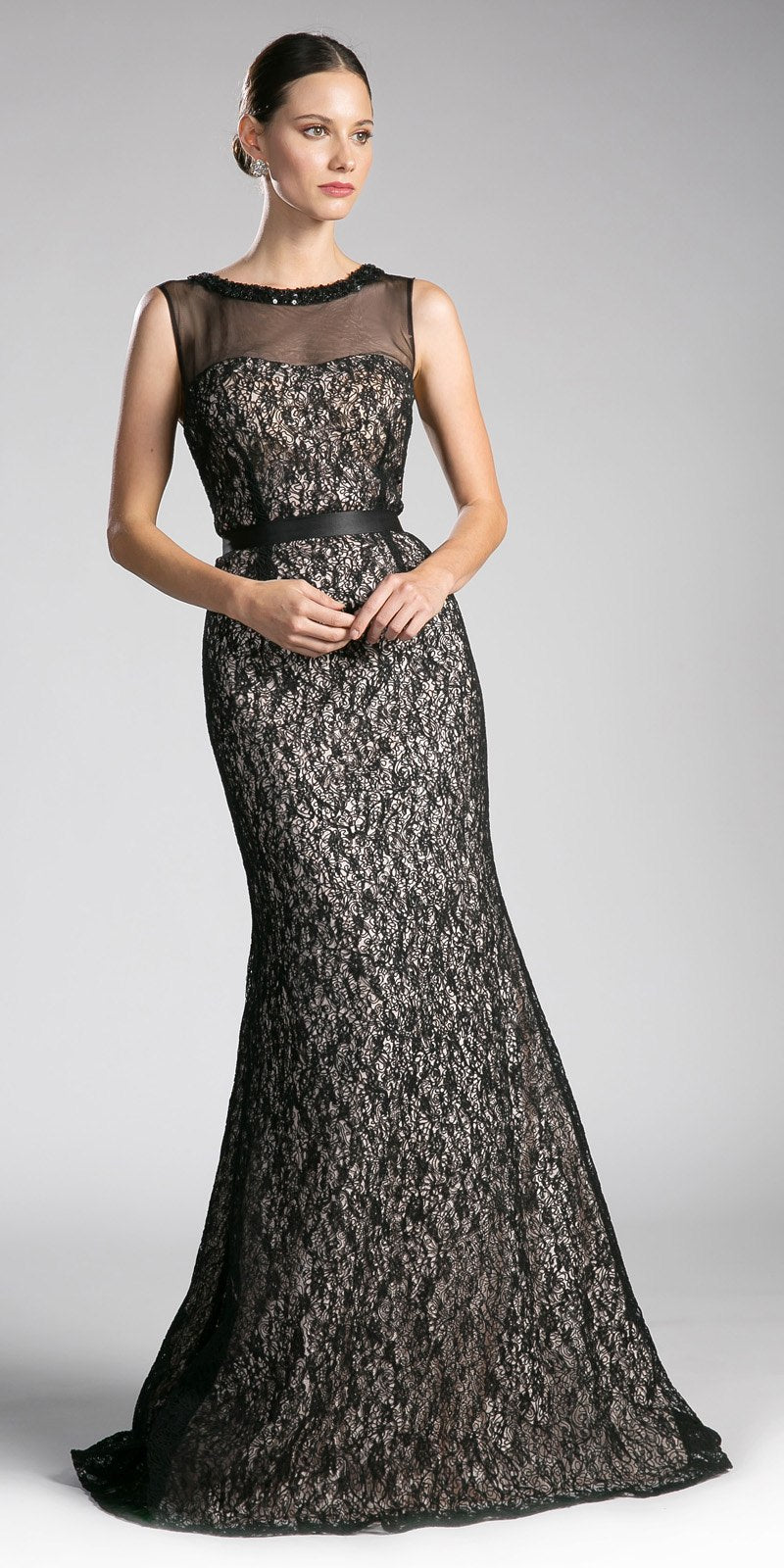Cinderella Divine 5014-1 Black Lace Illusion Mermaid Evening Gown ...