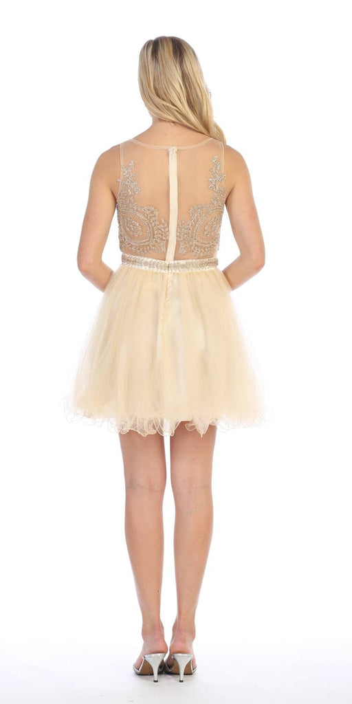 Celavie 5014 Champagne Bateau Neck Appliqued Bodice Homecoming Dress Back View