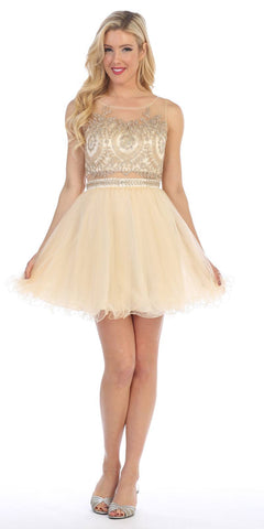 Celavie 5014 Champagne Bateau Neck Appliqued Bodice Homecoming Dress