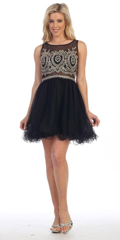 Celavie 5014 Black Bateau Neck Appliqued Bodice Homecoming Dress