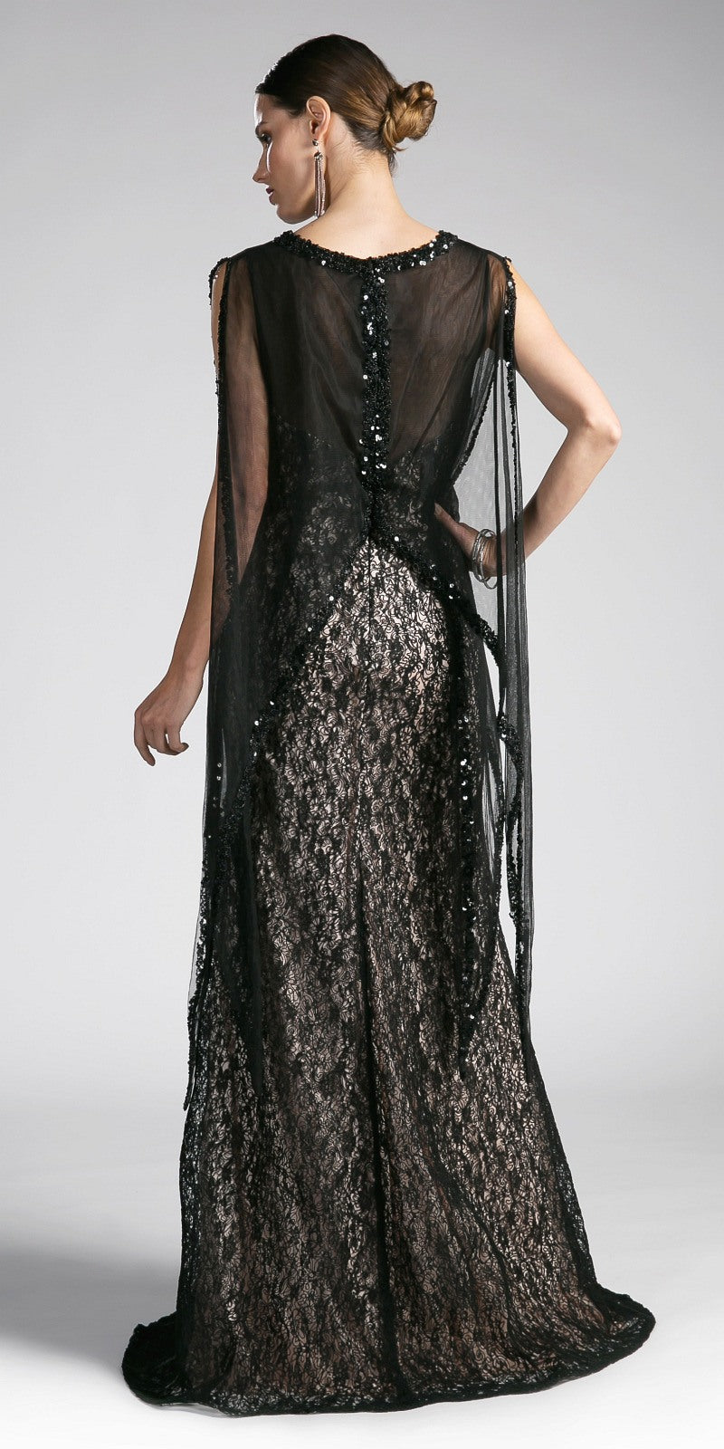 Cinderella Divine 5014 Black Lace Mermaid Evening Gown with Sheer ...