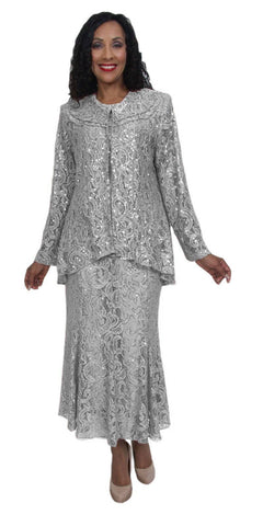 Hosanna 5015 Plus Size 3 Piece Set Silver Tea Length Dress Lace