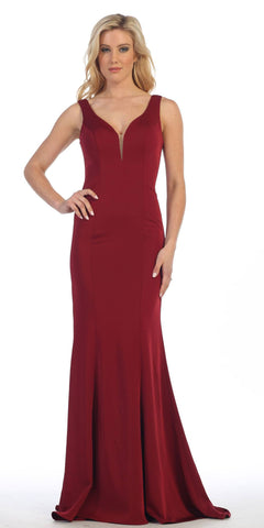 CLEARANCE - Long Burgundy Dress Trumpet Ruffle Layers Ruched (Size Medium)