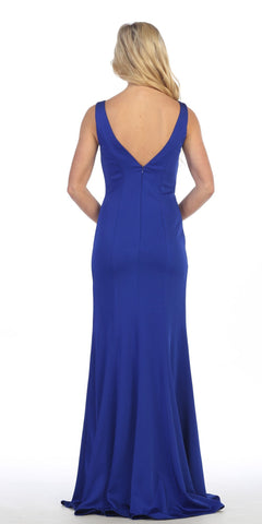 Floor Length Evening Gown Royal Blue Span Satin Fit and Flare Back