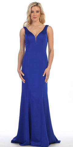 Floor Length Evening Gown Royal Blue Span Satin Fit and Flare