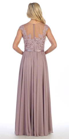 Celavie 5016 - Floor Length A Line Mocha Evening Dress Cap Sleeve Chiffon