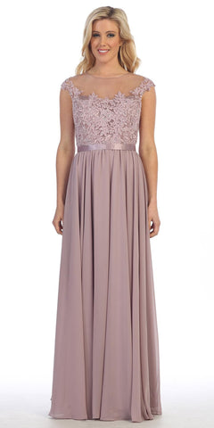 Lace Appliqued Bodice Long Formal Dress Off-Shoulder Blush