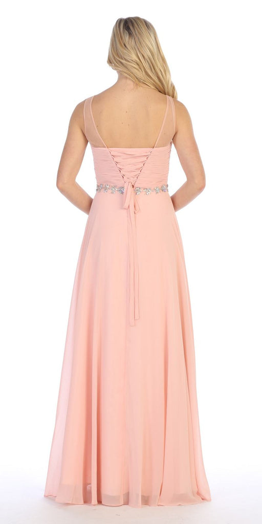 Celavie 5020 Blush Illusion Ruched Bodice Long Formal Dress Sleeveless Back View