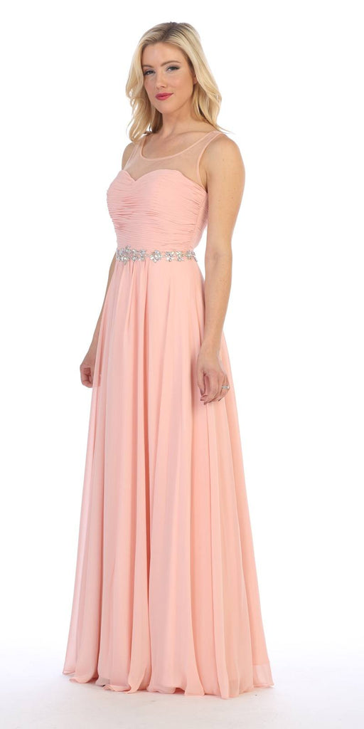 Celavie 5020 Blush Illusion Ruched Bodice Long Formal Dress Sleeveless Side View