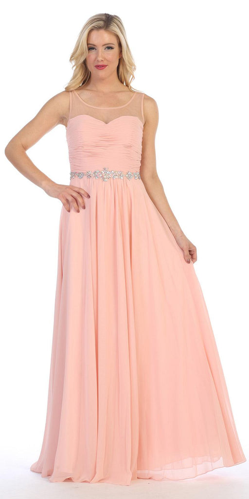 Celavie 5020 Blush Illusion Ruched Bodice Long Formal Dress Sleeveless