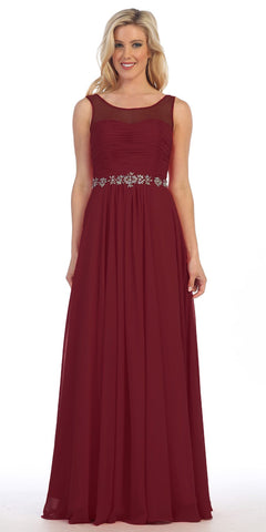 Celavie 5020 Burgundy Illusion Ruched Bodice Long Formal Dress Sleeveless