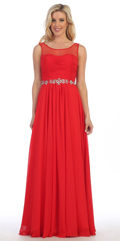 Celavie 5020 Red Illusion Ruched Bodice Long Formal Dress Sleeveless