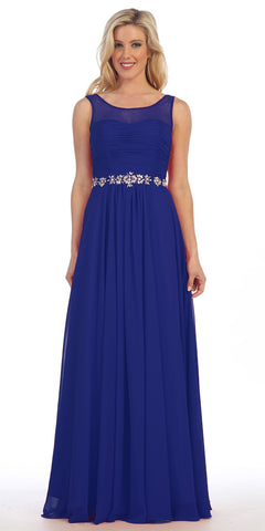 Celavie 5020 Royal Blue Illusion Ruched Bodice Long Formal Dress Sleeveless