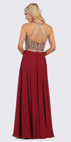 Sleeveless Burgundy Embellished Bodice Long Formal Dress