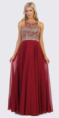 Short Sleeves Embroidered Long Formal Dress Burgundy
