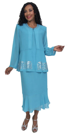 Hosanna 5022 Plus Size Turquoise 3 Piece Set Tea Length Dress