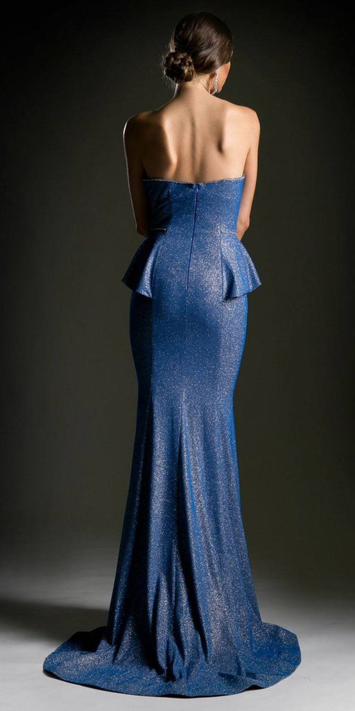 Strapless Half-Peplum Mermaid Prom Gown Royal Blue Back View