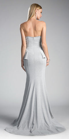 Strapless Half-Peplum Mermaid Prom Gown Silver