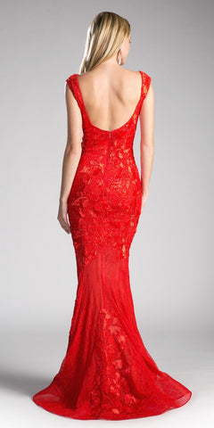 Red Lace Floor Length Mermaid Prom Gown Cap Sleeved