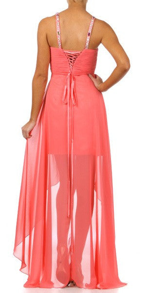 Coral High Low Gown V Strap Ruched Detail Rhinestone Sheer Skirt Back