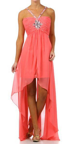 Coral High Low Gown V Strap Ruched Detail Rhinestone Sheer Skirt