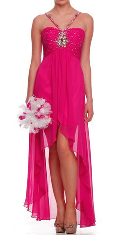 Fuchsia High Low Gown V Strap Ruched Detail Rhinestone Sheer Skirt