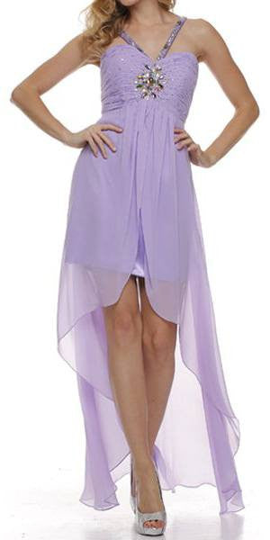 Lilac High Low Gown V Strap Ruched Detail Rhinestone Sheer Skirt
